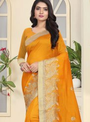 Art Silk Patch Border Mustard Designer Traditional Saree