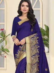 Art Silk Patch Border Navy Blue Traditional Saree