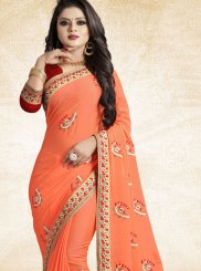 Art Silk Patch Border Orange Traditional Saree
