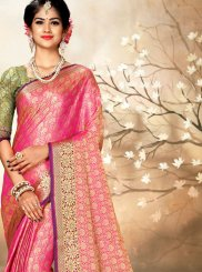 Art Silk Patch Border Pink Traditional Saree