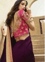 Art Silk Patch Border Purple Designer Traditional Saree