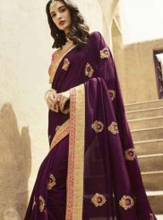 Art Silk Patch Border Purple Designer Traditional Saree