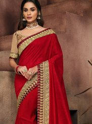 Art Silk Patch Border Red Designer Traditional Saree