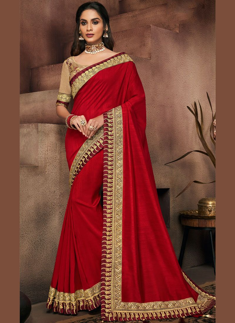 Art Silk Patch Border Red Designer Traditional Saree
