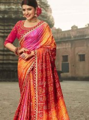 Art Silk Patch Border Shaded Saree in Multi Colour