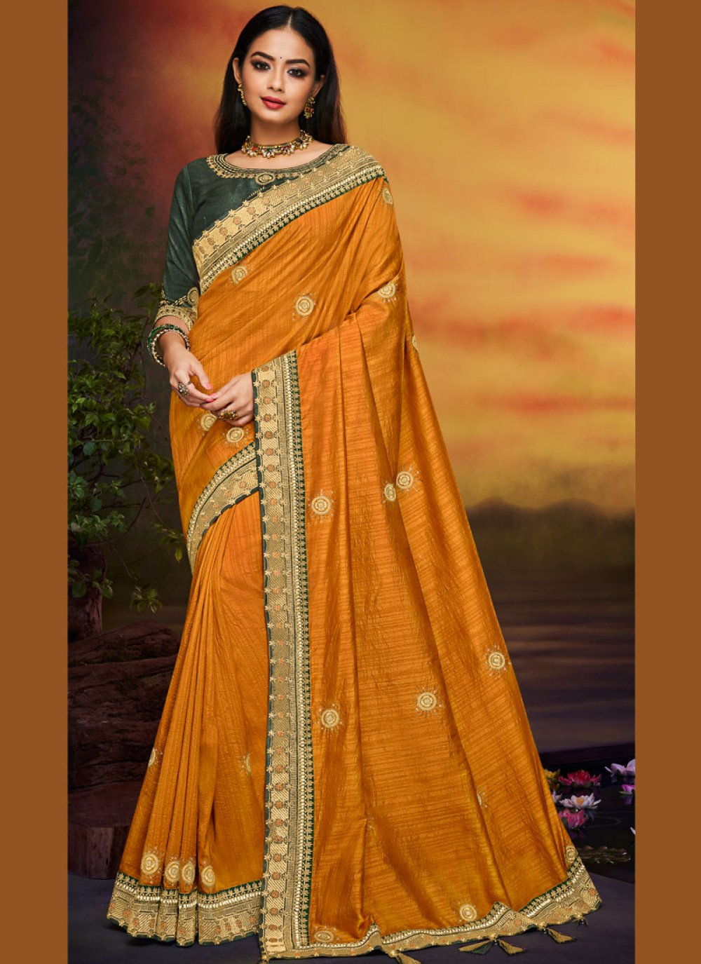 Art Silk Patch Border Traditional Designer Saree in Mustard