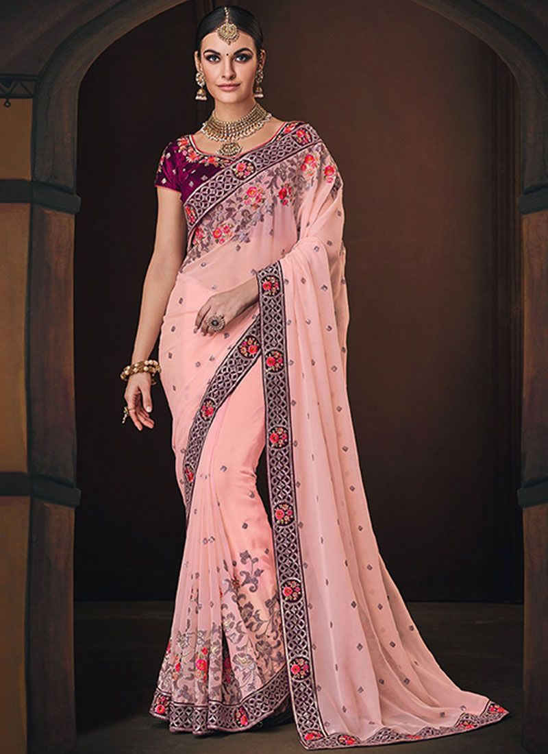 Art Silk Patch Border Traditional Saree in Pink