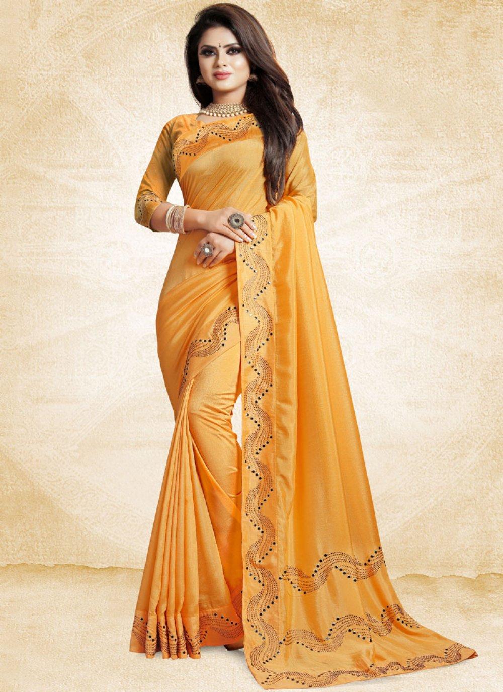 Art Silk Patch Border Yellow Traditional Designer Saree