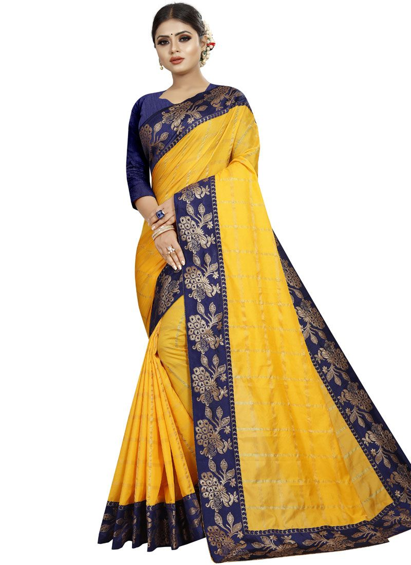 Art Silk Patch Border Yellow Traditional Saree