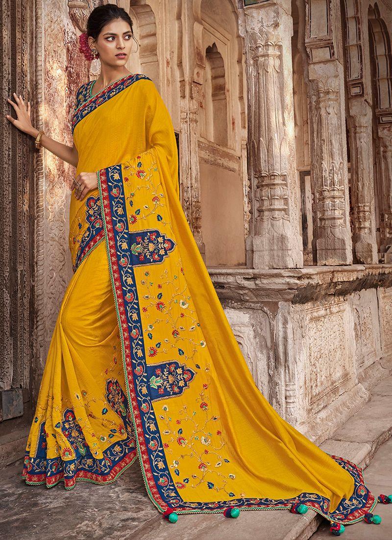 Art Silk Patch Border Yellow Traditional Saree