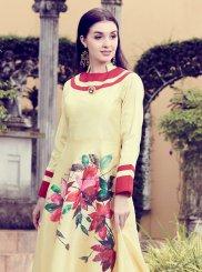 Art Silk Patchwork Yellow Designer Kurti