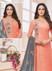 Art Silk Peach Churidar Suit