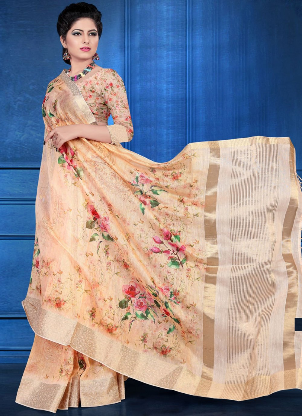 Art Silk Peach Digital Print Printed Saree