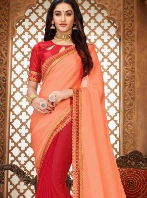Art Silk Peach Embroidered Classic Designer Saree