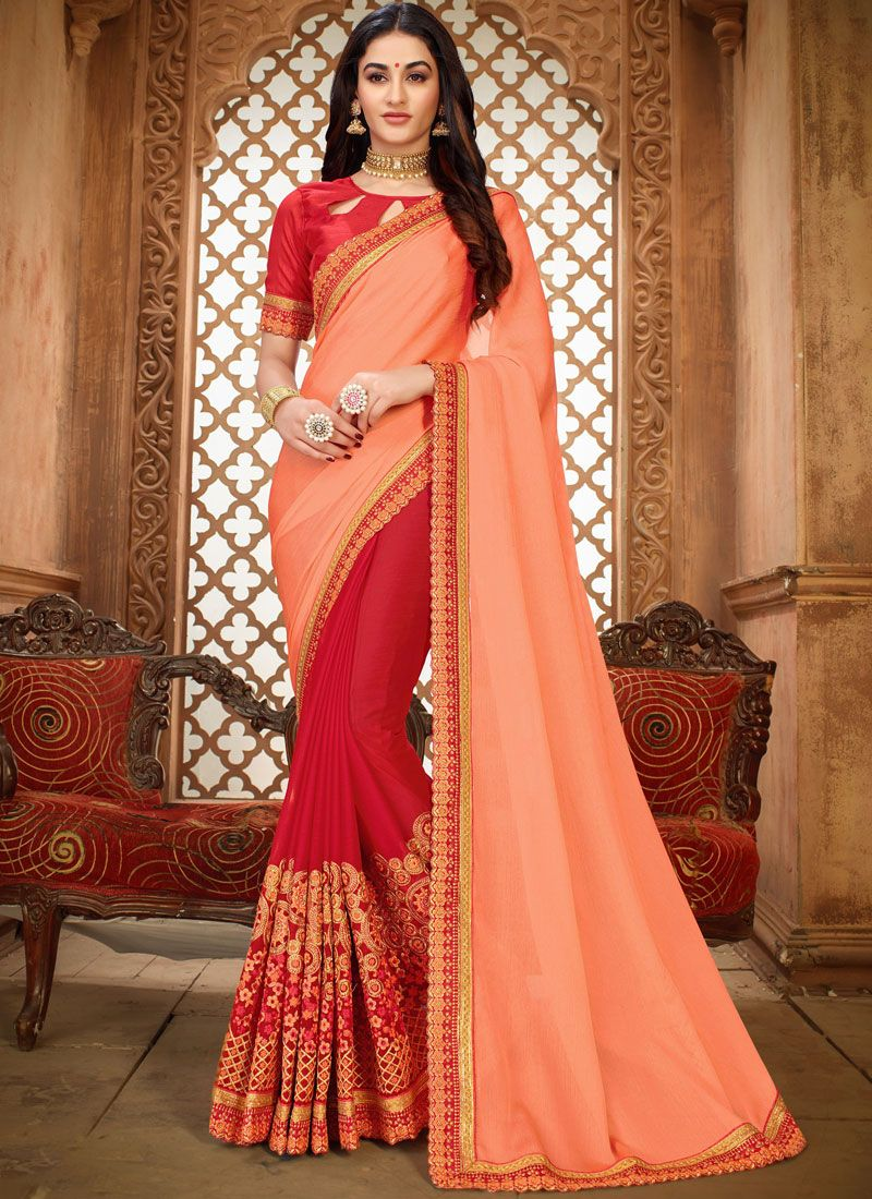 Art Silk Peach Embroidered Classic Designer Saree