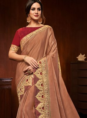 Art Silk Peach Embroidered Designer Traditional Saree