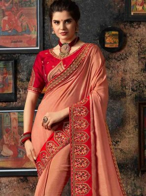 Art Silk Peach Embroidered Traditional Designer Saree
