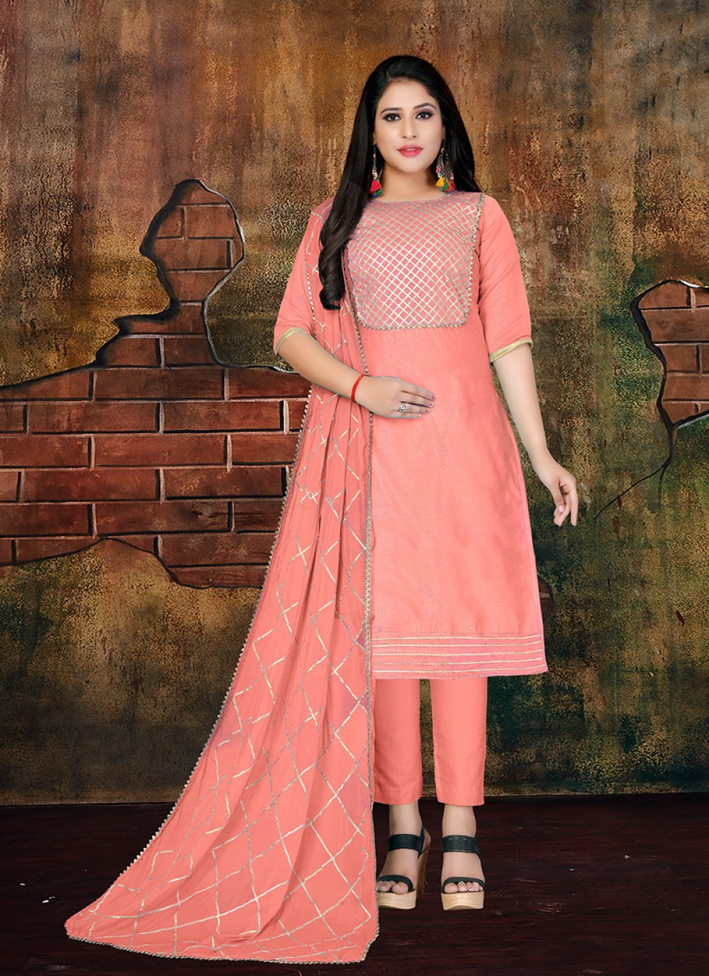 Art Silk Peach Lace Designer Salwar Kameez