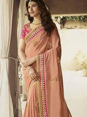 Art Silk Peach Patch Border Traditional Designer Saree