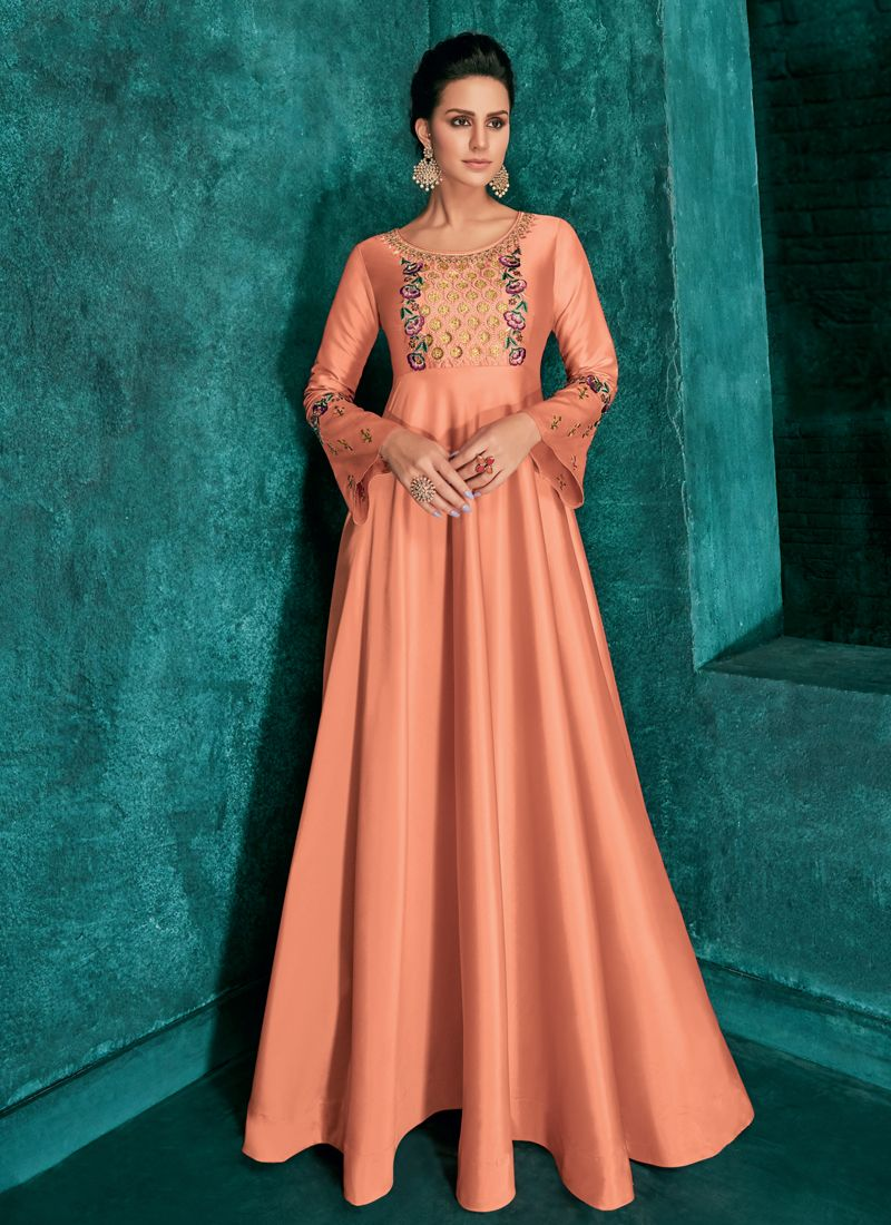 Art Silk Peach Readymade Gown