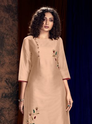 Art Silk Peach Readymade Salwar Kameez