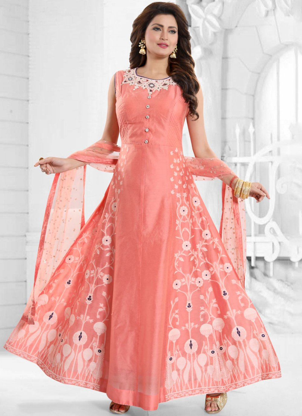 Art Silk Peach Resham Readymade Suit