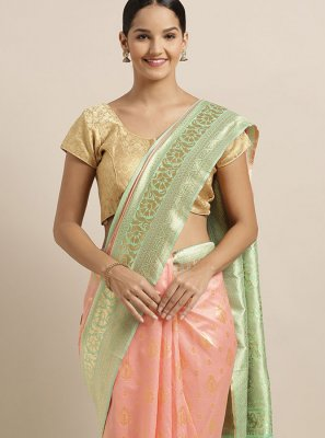 Art Silk Peach Traditional Saree