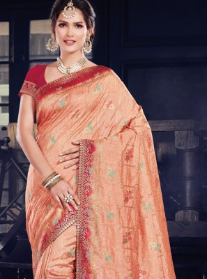 Art Silk Peach Weaving Traditional Saree