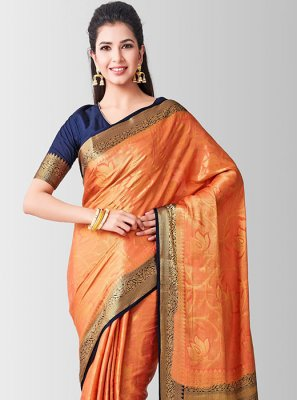 Art Silk Peach Zari Designer Traditional Saree