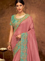Art Silk Pink Classic Designer Saree