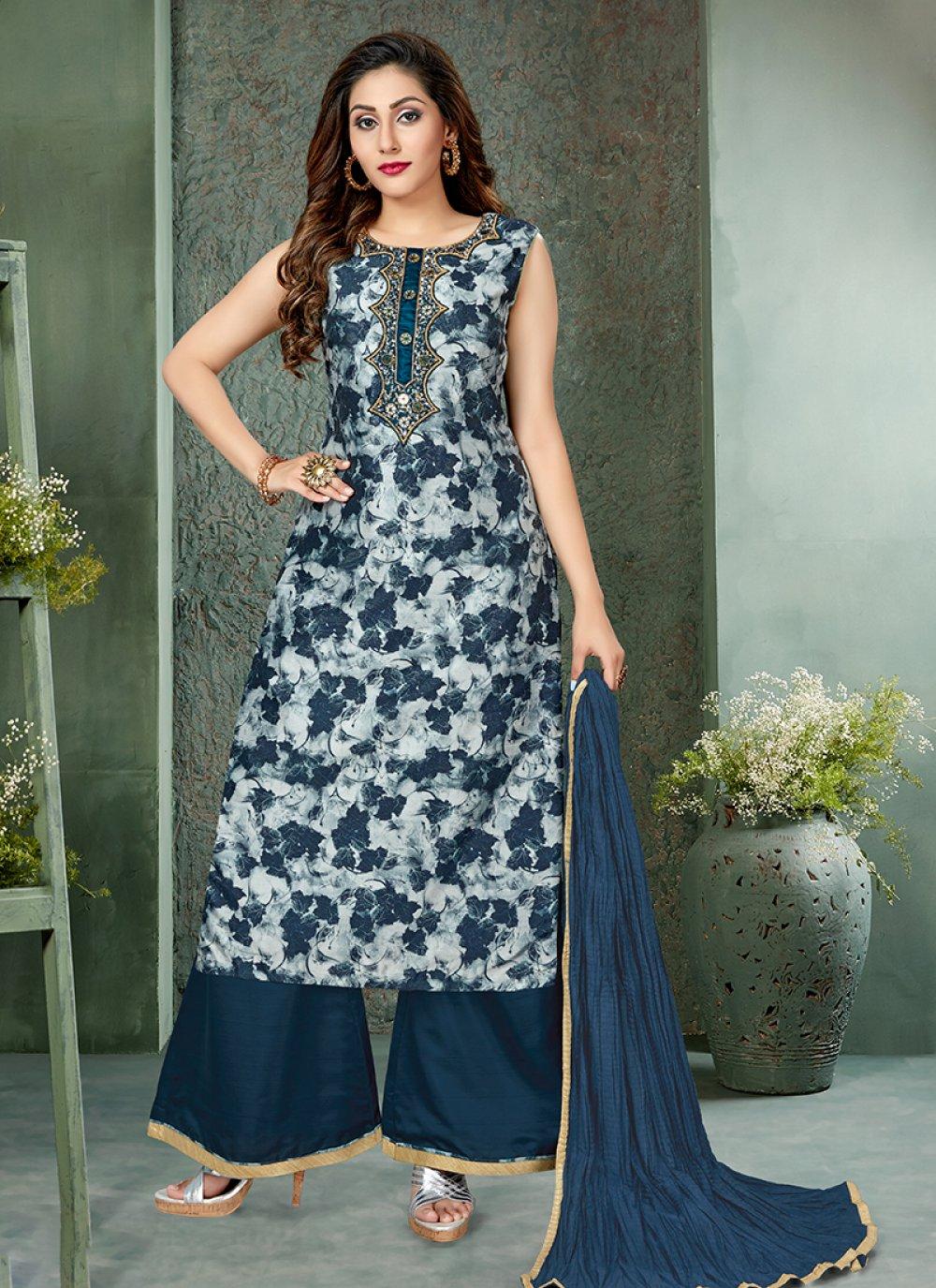 Art Silk Blue Designer Palazzo Salwar Suit