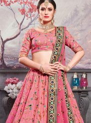 Art Silk Pink Embroidered Lehenga Choli