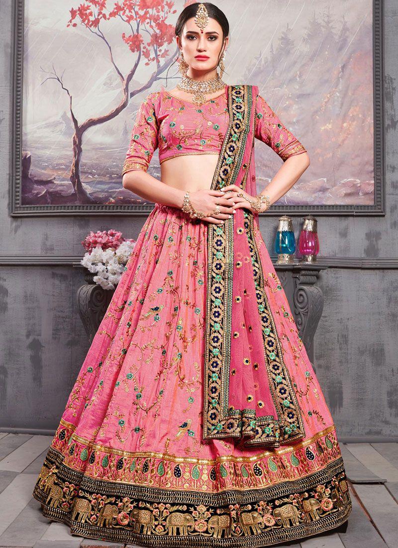 Art Silk Pink Embroidered Lehenga Choli
