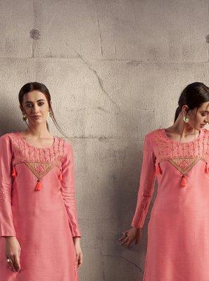 Art Silk Pink Embroidered Party Wear Kurti