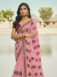 Art Silk Pink Embroidered Traditional Saree