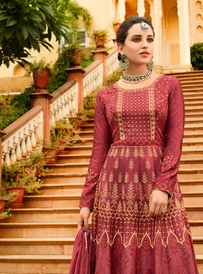 Art Silk Pink Lace Floor Length Anarkali Suit