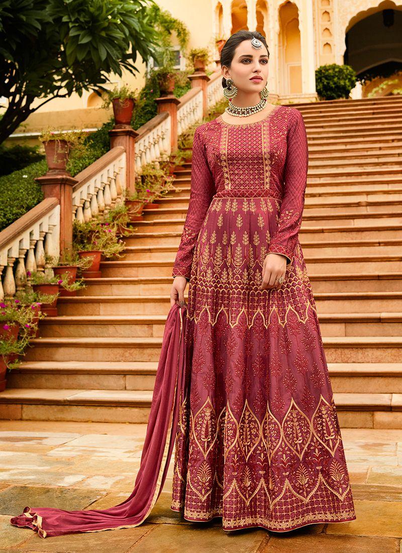 Art Silk Pink Lace Floor Length Anarkali Suit