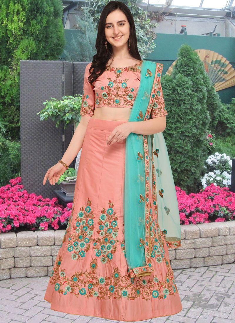 Art Silk Pink Lace Lehenga Choli