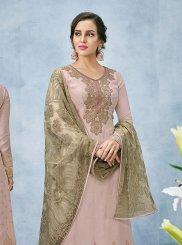 Art Silk Pink Resham Designer Pakistani Suit