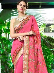 Art Silk Pink Resham Work Saree