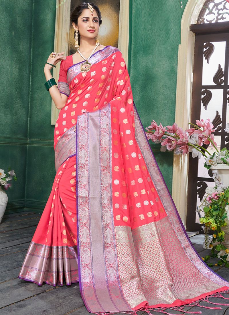 Art Silk Pink Traditional Designer Saree