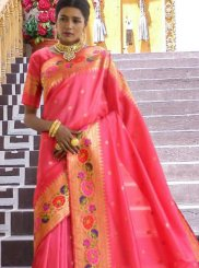 Art Silk Pink Weaving Traditional Designer Saree