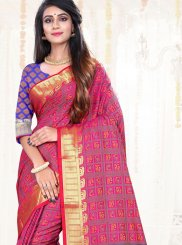 Art Silk Pink Weaving Traditional Saree