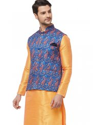 Art Silk Plain Kurta Payjama With Jacket in Orange