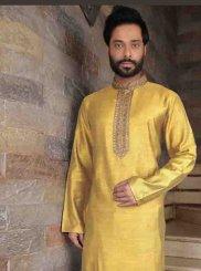 Art Silk Plain Kurta Pyjama in Yellow