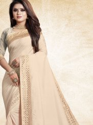 Art Silk Print Beige Designer Traditional Saree