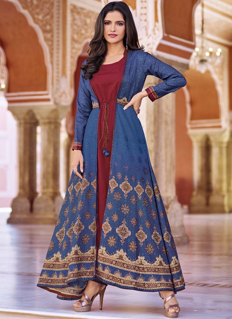 f96f1e8b59a Buy Art Silk Print Blue Party Wear Kurti Online   102185 -