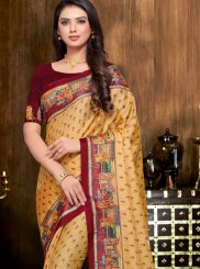 Art Silk Print Designer Traditional Saree in Yellow