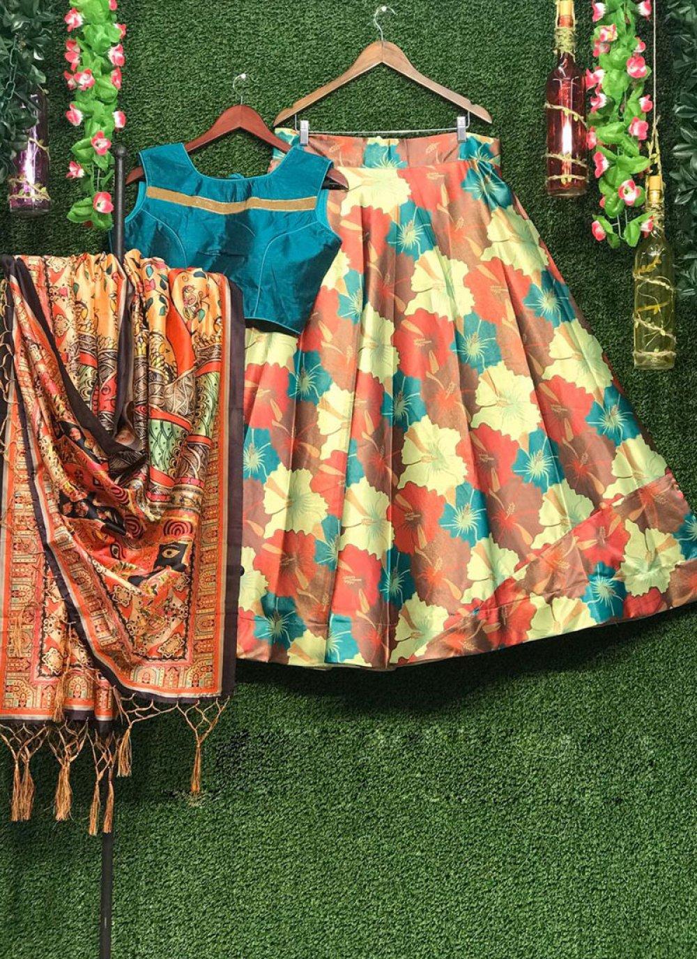 Art Silk Print Lehenga Choli in Multi Colour