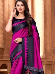 Art Silk Print Magenta Printed Saree